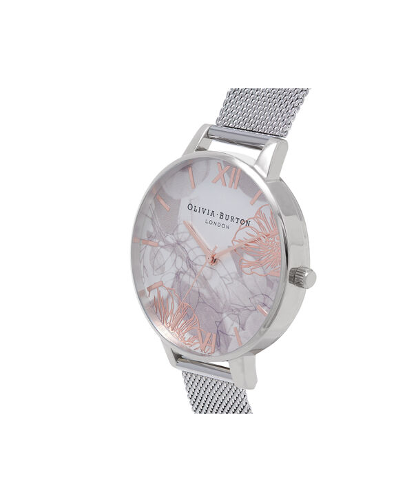 OLIVIA BURTON LONDON Abstract Florals Silver Mesh Watch  OB16VM20 – Midi Round Silver and Rose Gold - Side view