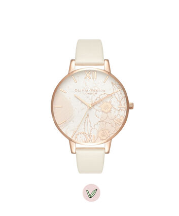 OLIVIA BURTON LONDON  Abstract Florals Vegan Nude & Rose Gold OB16VM25 – Big Dial Round in Nude and Rose Gold - Front view