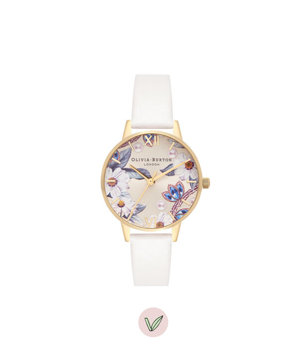 OLIVIA BURTON LONDON  Bejewelled Florals Vegan Nude & Gold OB16BF14 – Midi Dial Round in Gold and Nude - Front view