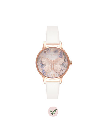 OLIVIA BURTON LONDON Glasshouse Vegan Blush & Rose GoldOB16GH07 – Midi Dial Round in Rose Gold and Pink - Front view