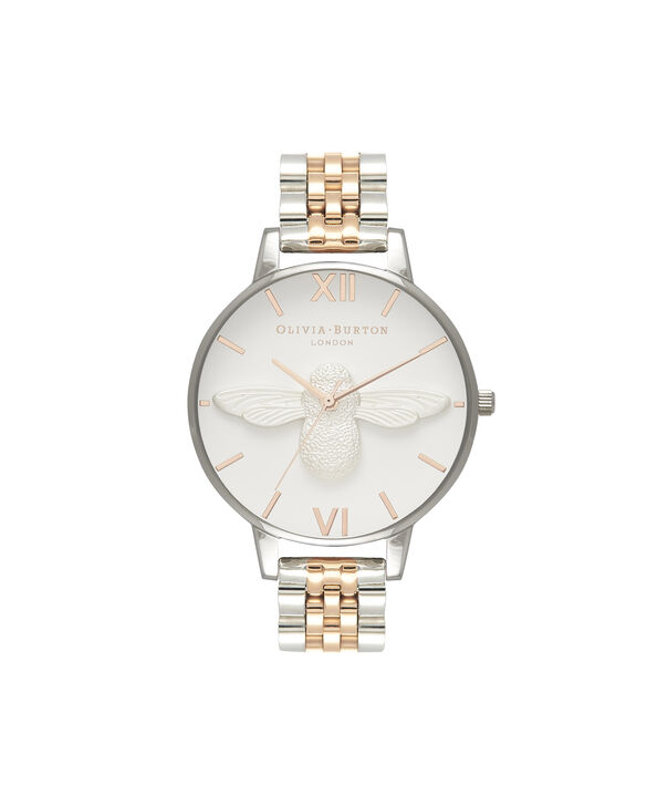 OLIVIA BURTON LONDON  3D Bee Bracelet Silver & Rose Gold OB16AM156 – Big Dial Round in Silver , Rose Gold and Silver - Front view