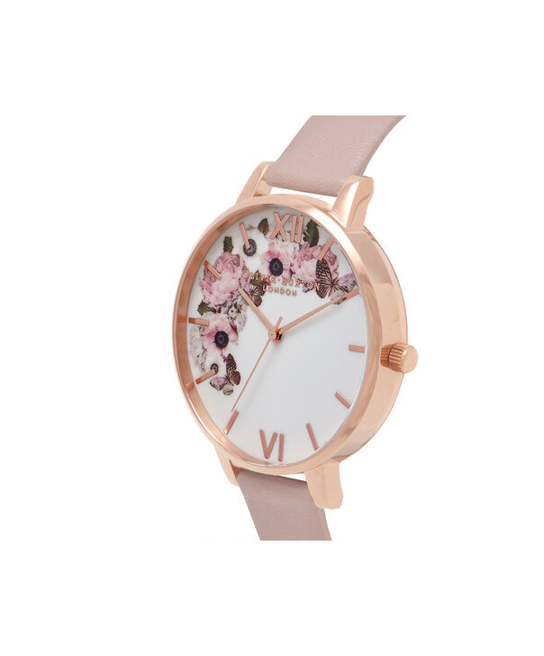 OLIVIA BURTON LONDON  Vegan Friendly Rose Sand & Rose Gold Watch OB16VE04 – Big Dial Round in Floral and Rose Sand - Side view