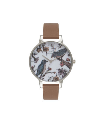 OLIVIA BURTON LONDON  Tan & Silver Hummingbird Watch OB15AM76 – Big Dial Round in Silver and White - Front view