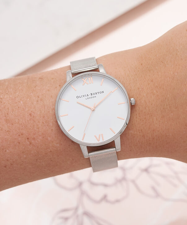 OLIVIA BURTON LONDON  White Dial Rose Gold & Silver Mesh Watch OB16BD97 – Big Dial Round in White and Silver - Other view