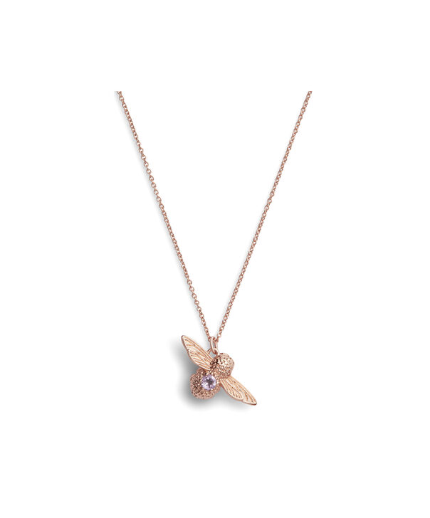 OLIVIA BURTON LONDON Bejewelled Bee Necklace Rose Gold & AmethystOBJAMN43 – Necklace in Rose Gold - Front view