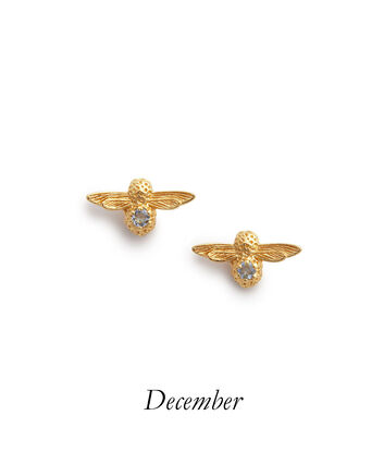 OLIVIA BURTON LONDON Celebration Bee Studs Gold & Blue ZirconOBJAME106 – Celebration Bee Studs Gold & Blue Zircon - Front view