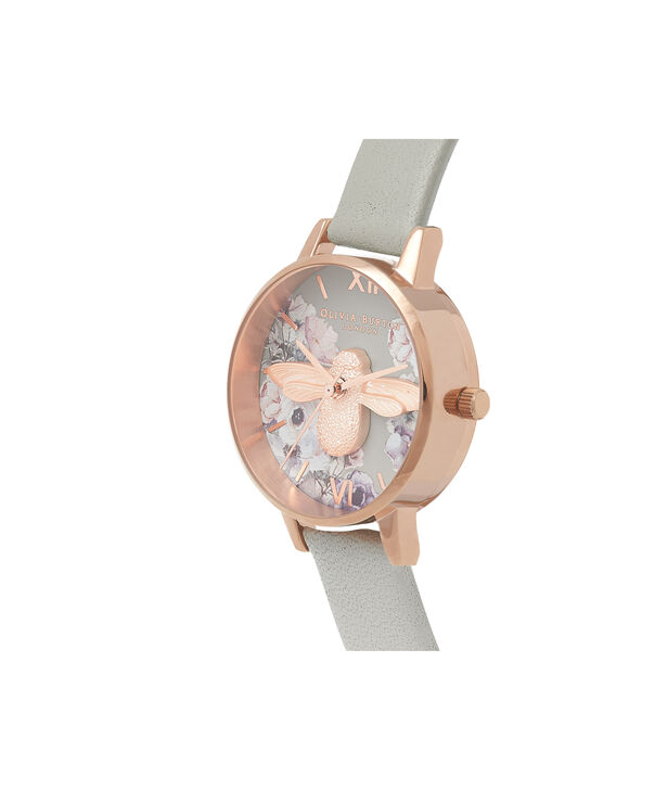 OLIVIA BURTON LONDON Watercolour Florals Grey & Rose GoldOB16PP43 – Midi Dial Round in Rose Gold - Side view