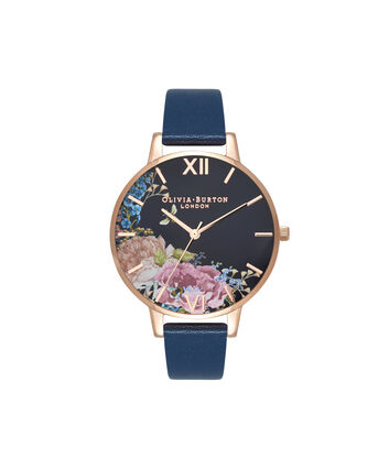OLIVIA BURTON LONDON Enchanted Garden Floral Midnight & Rose GoldOB16EG102 – Big Dial Round in Rose Gold and Navy - Front view
