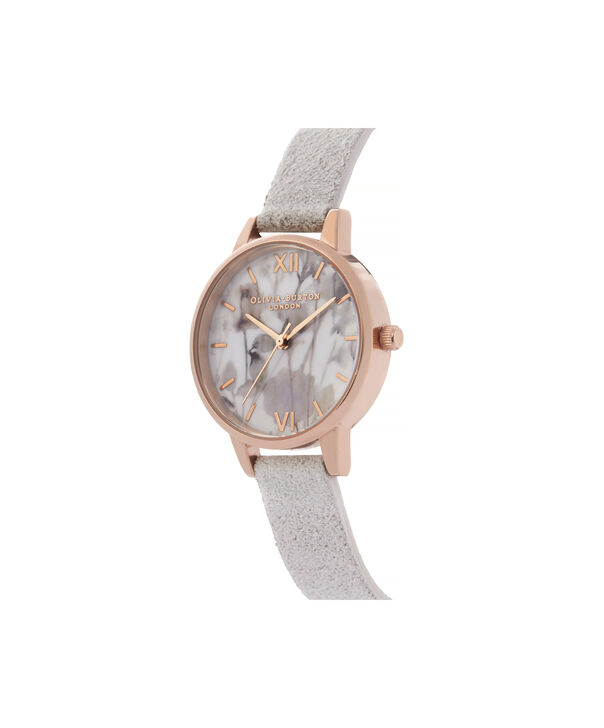 OLIVIA BURTON LONDON Eco-Friendly Midi Dial Rose Gold WatchOB16VE14 – Midi Dial in grey and Rose Gold - Side view