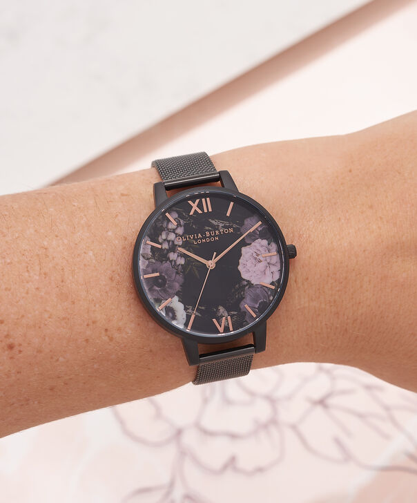 OLIVIA BURTON LONDON  After Dark Marble Floral Ip Black Mesh Watch OB16AD21 – Big Dial Round in Floral and Black - Other view
