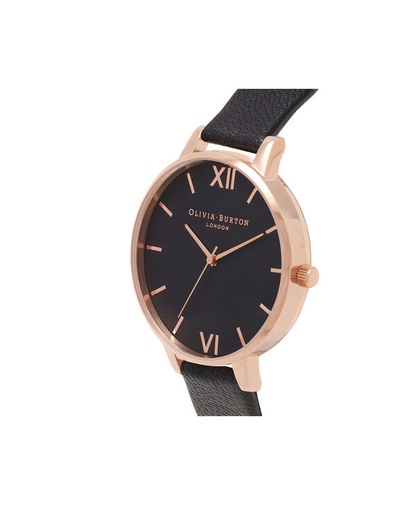 OLIVIA BURTON LONDON  Big Dial Black And Rose Gold Watch OB15BD66 – Big Dial Round in Black - Side view