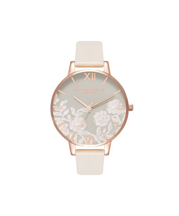 OLIVIA BURTON LONDON Lace DetailOB16MV80 – Big Dial Round in Rose Gold and Nude - Front view