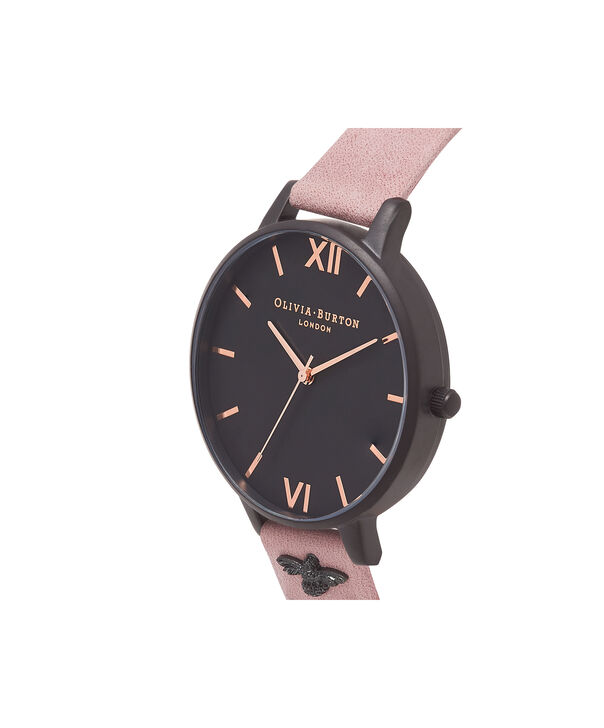 OLIVIA BURTON LONDON  3D Bee Embellished Strap Rose Suede & Ip Black Watch OB16ES09 – Big Dial Round in Black and Rose - Side view
