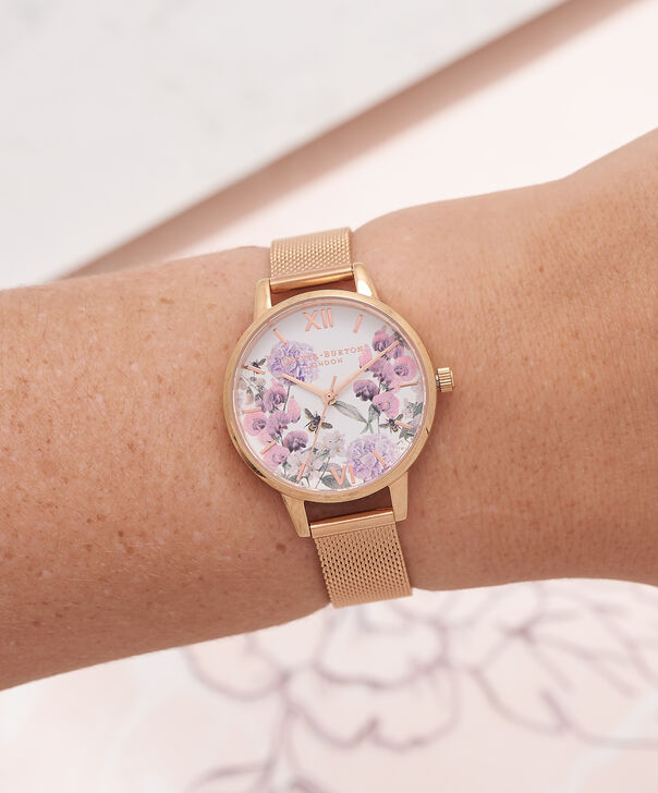 OLIVIA BURTON LONDON  Midi Enchanted Garden Bee Blooms Rose Gold Mesh Watch OB16EX90 – Midi Dial in White and Rose Gold - Other view
