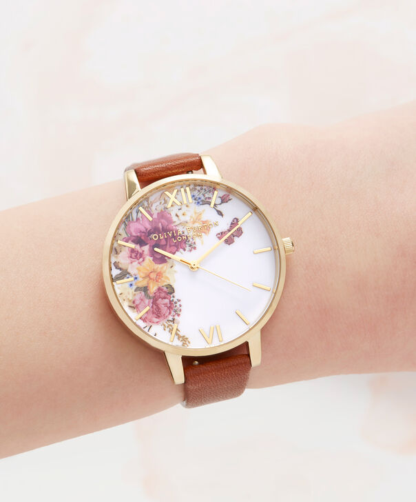 OLIVIA BURTON LONDON  Enchanted Garden Tan & Gold Watch OB16EG94 – Big Dial Round in Floral and Gold - Other view