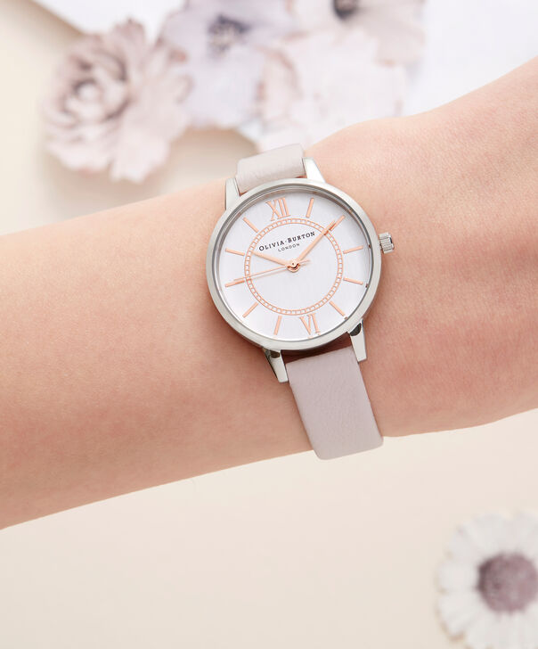 OLIVIA BURTON LONDON  Wonderland Rose Sand and Silver Watch OB16WD66 – Midi Dial Round in Silver and Rose Sand - Other view