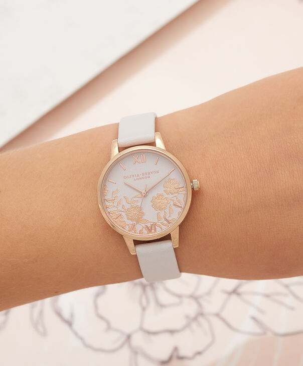 OLIVIA BURTON LONDON  Lace Detail Blush & Rose Gold Watch OB16MV69 – Midi Dial Round in Blush - Other view
