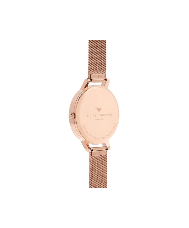 OLIVIA BURTON LONDON  Marble Florals Rose Gold Mesh OB16MF13 – Big Dial Round in Rose Gold - Back view