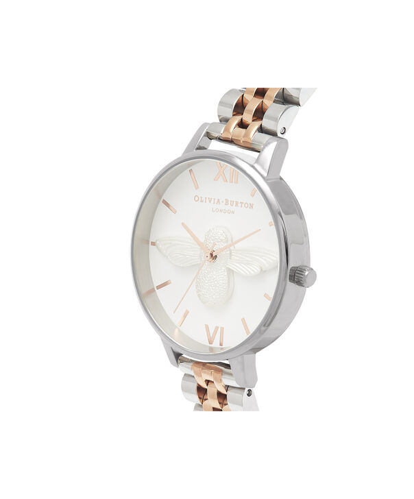 OLIVIA BURTON LONDON  3D Bee Bracelet Silver & Rose Gold OB16AM156 – Big Dial Round in Silver , Rose Gold and Silver - Side view