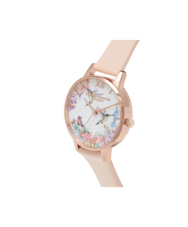 OLIVIA BURTON LONDON  Painterly Prints Nude Peach & Rose Gold Watch OB16PP20 – Midi Dial in White Floral and Nude Peach - Side view