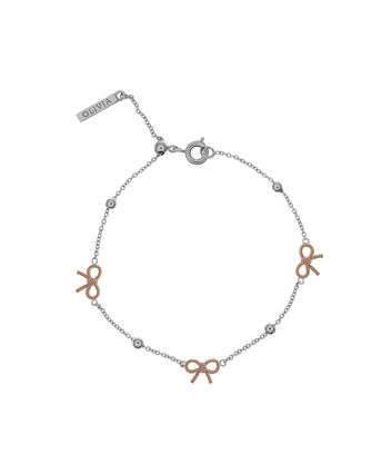OLIVIA BURTON LONDON  Bow and Ball Bracelet Silver & Rose Gold OBJ16VBB11 – Vintage Bow Chain Bracelet - Front view