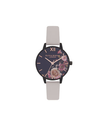 OLIVIA BURTON LONDON After DarkOB16AD30 – Midi Round in Dark Floral and Rose Gold - Front view