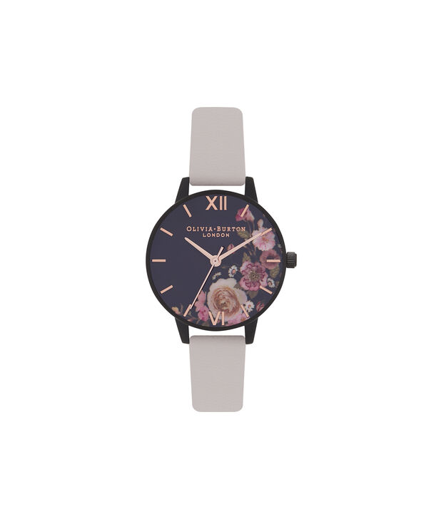 OLIVIA BURTON LONDON  After Dark Marble Floral Black & Rose Gold Watch OB16AD30 – Midi Round in Dark Floral and Rose Gold - Front view