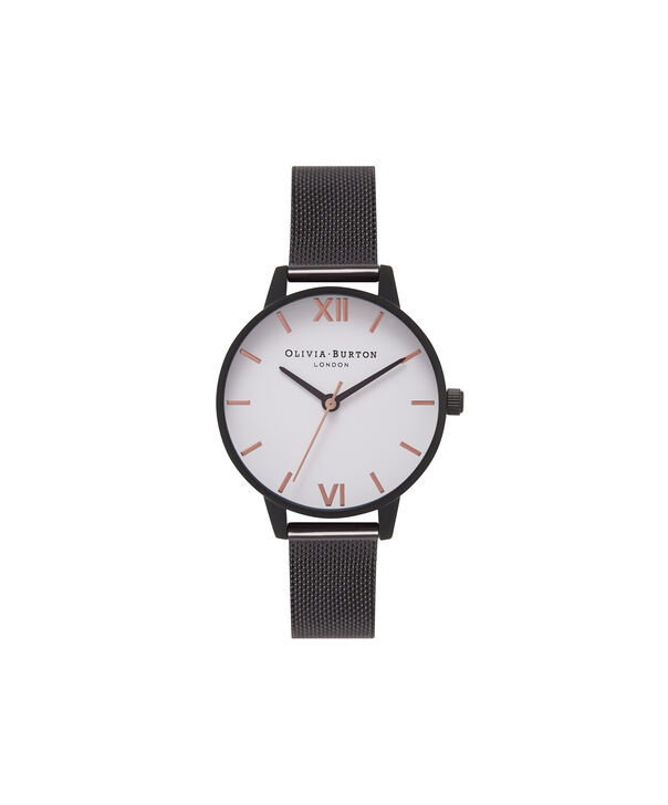 OLIVIA BURTON LONDON  White Dial IP Black Mesh Watch OB16MDW08 – Midi Dial Round in Black IP and white - Front view
