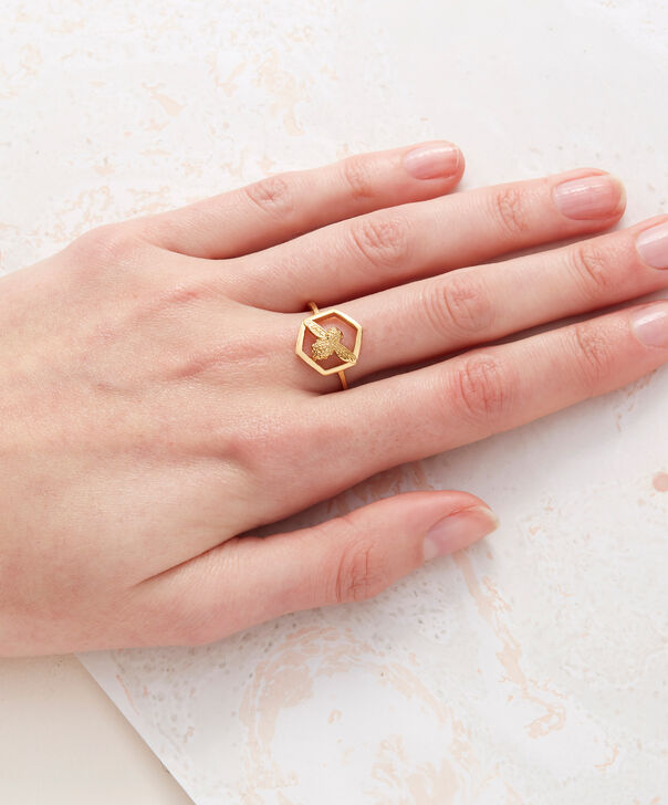 OLIVIA BURTON LONDON  Honeycomb Bee Ring Gold OBJ16AMR05 – Honeycomb Bee Ring - Other view