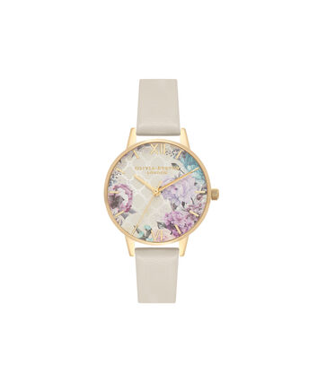 OLIVIA BURTON LONDON  Glasshouse Nude & Gold OB16EG99 – Midi Dial Round in Gold and Nude - Front view