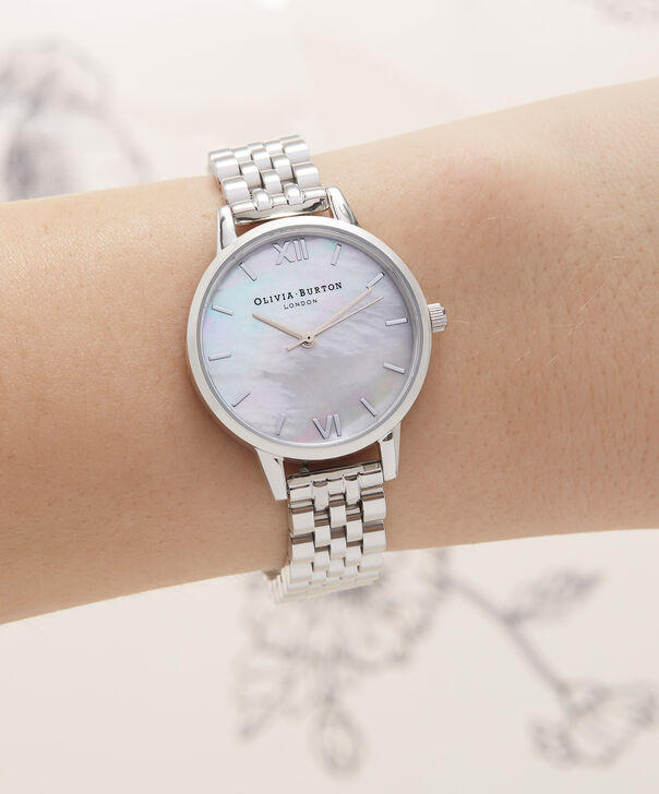 OLIVIA BURTON LONDON  Mother of Pearl White Bracelet, Silver OB16MOP02 – Midi Dial Round in Silver and Silver - Other view