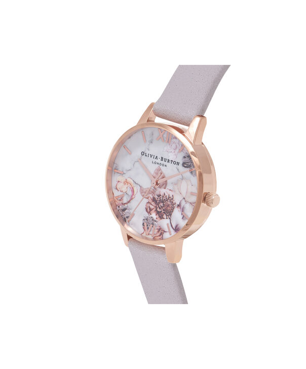 OLIVIA BURTON LONDON Marble Floral Grey Lilac & Rose Gold WatchOB16CS14 – Midi Dial Round in Floral Sand and Rose Gold - Side view