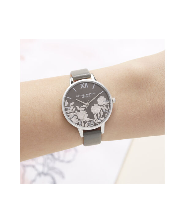 OLIVIA BURTON LONDON Lace Detail Sunray Demi Dial WatchOB16MV96 – Demi Dial in grey and Silver - Other view