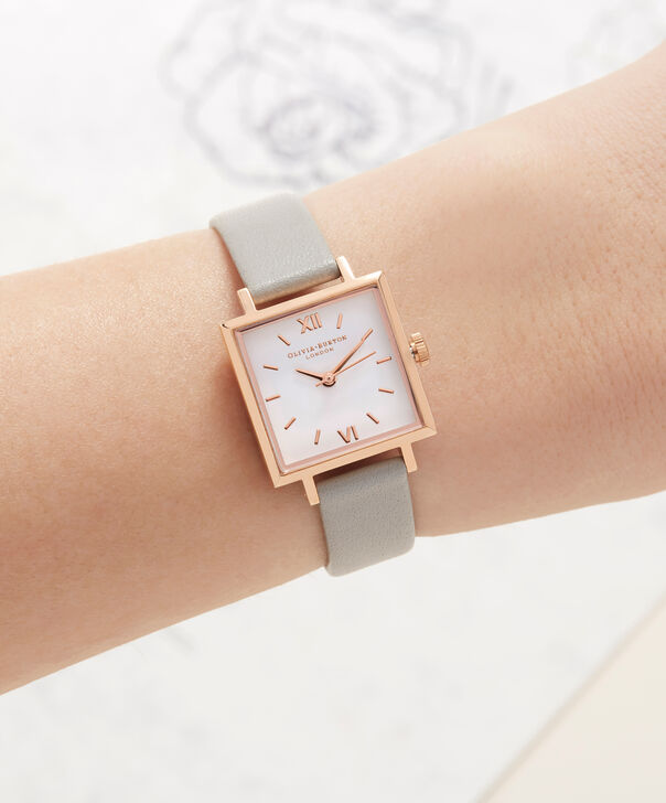 OLIVIA BURTON LONDON  Big Dial Square Dial Grey & Rose Gold Watch OB16SS03 – Midi Dial Square in White and Grey - Other view