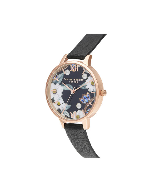 OLIVIA BURTON LONDON Bejewelled Floral and Pearl Bee Gift SetOB16GSET24 – Demi Dial in black and Rose Gold - Back view