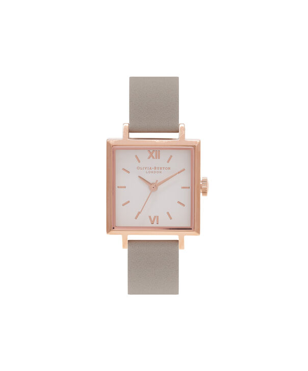 OLIVIA BURTON LONDON  Big Dial Square Dial Grey & Rose Gold Watch OB16SS03 – Midi Dial Square in White and Grey - Front view