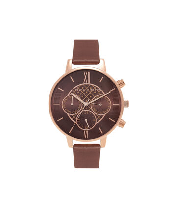 OLIVIA BURTON LONDON  Chrono Detail Chocolate and Rose Gold Watch OB16CG84 – Big Dial Round in Chocolate and Rose Gold - Front view