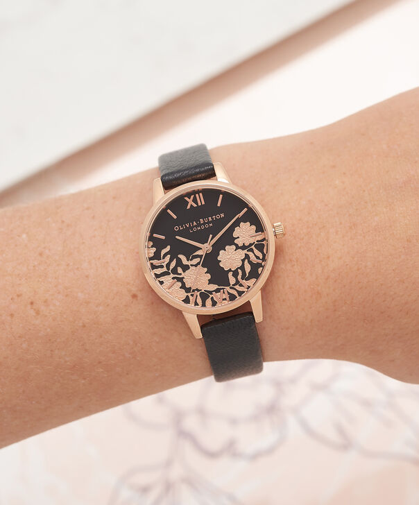 OLIVIA BURTON LONDON Lace Detail Black & Rose Gold Watch OB16MV75 – Midi Dial Round in Black - Other view