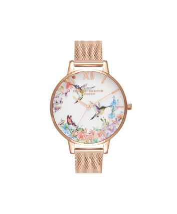 OLIVIA BURTON LONDON  Painterly Prints Hummingbird Nude Peach & Rose Gold Watch OB16PP21 – Big Dial Round in Floral and Rose Gold - Front view