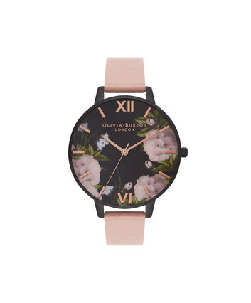 OLIVIA BURTON LONDON  After Dark Dusty Pink & Rose Gold Watch OB15EG41 – Big Dial Round in Floral and Pink - Front view