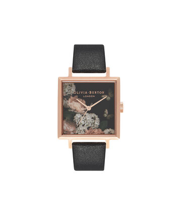 OLIVIA BURTON LONDON  Signature Floral Big Square Dial Black & Rose Gold Watch OB16WG27 – Big Dial Square in Rose Gold and Black Floral - Front view