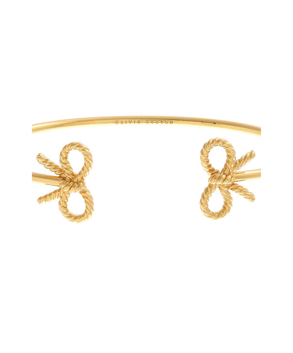 OLIVIA BURTON LONDON Vintage Bow Open Ended Bangle Gold OBJ16VBB16 – Vintage Bow Bangle - Side view