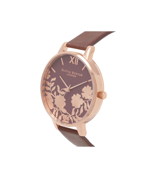 OLIVIA BURTON LONDON  Lace Detail Chocolate & Rose Gold Watch OB16MV61 – Big Dial Round in Rose Gold and Chocolate - Side view