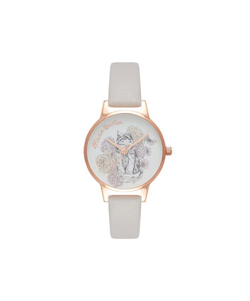 OLIVIA BURTON LONDON  Animal Motif Cat Blush & Rose Gold Watch OB16AM120 – Midi Dial Round in Blush and Rose Gold - Front view