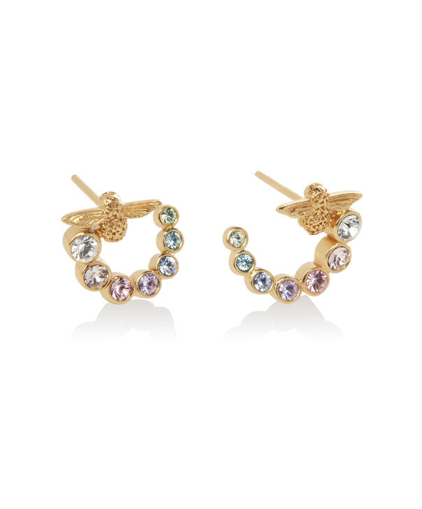 OLIVIA BURTON LONDON Rainbow Bee Swirl Hoop Earrings GoldOBJAME132 – Earrings in Gold - Side view