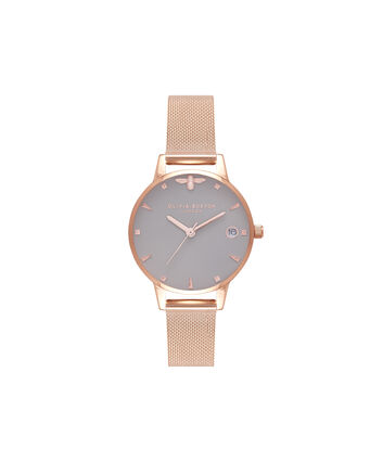 OLIVIA BURTON LONDON Queen BeeOB16AM122 – Midi Dial Round in White and Rose Gold - Front view