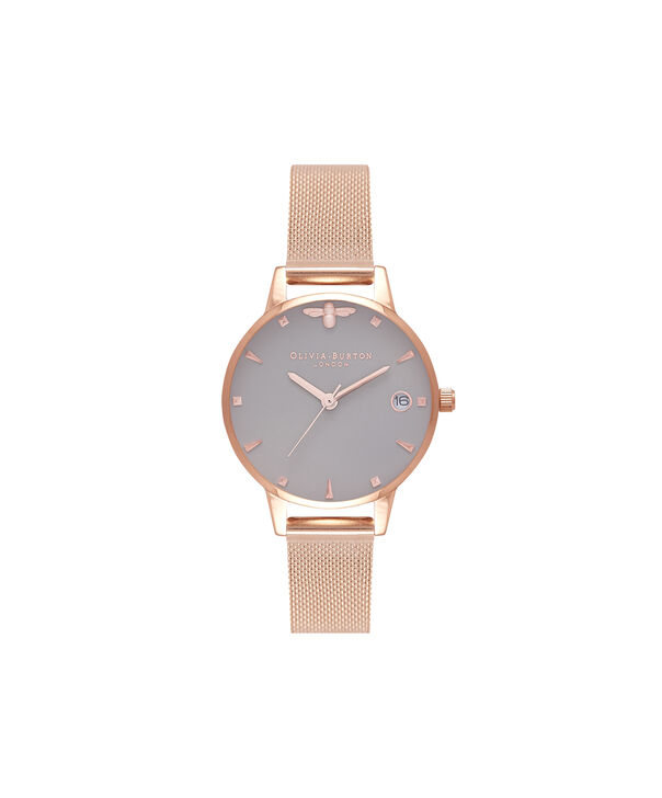OLIVIA BURTON LONDON  Queen Bee Rose Gold Mesh Watch OB16AM122 – Midi Dial Round in White and Rose Gold - Front view