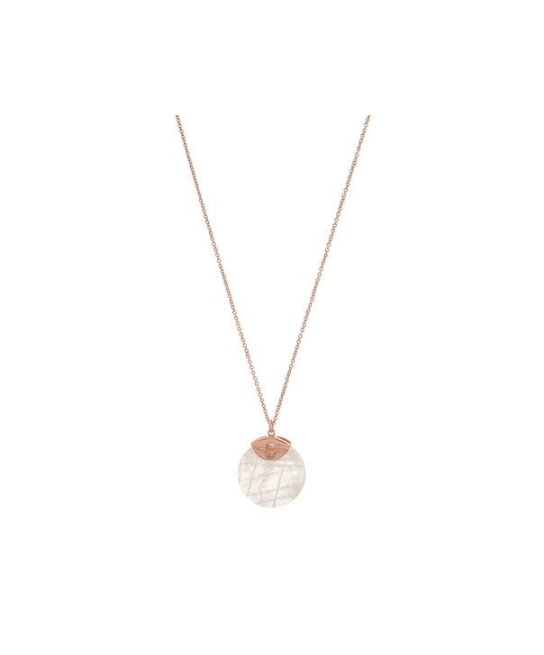 OLIVIA BURTON LONDON Semi Precious Rose Gold & Rose QuartzOBJ16AMN23 – Semi Precious Necklace - Front view