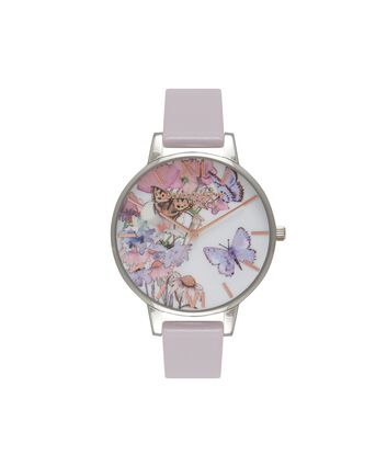 OLIVIA BURTON LONDON Painterly PrintsOB16PP15 – Midi Dial in Grey Lilac and Silver - Front view