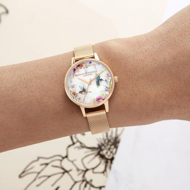 OLIVIA BURTON LONDON Painterly Prints Rose Gold MeshOB16PP49 – Midi Dial Round in Rose Gold - Other view